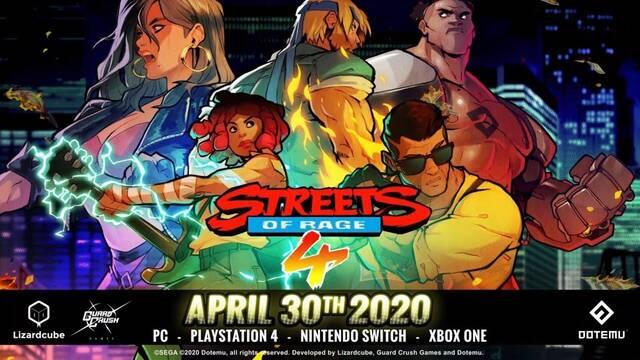 Streets of Rage 4 se estrenará finalmente el 30 de abril en todas las plataformas.