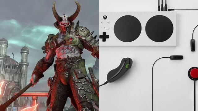 Un jugador se pasa DOOM Eternal usando el Xbox Adaptive Controller.