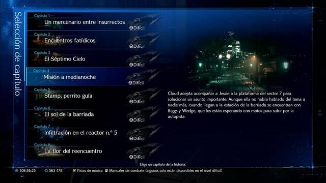 Selección de capítulo en Final Fantasy VII Remake: cómo funcona y características