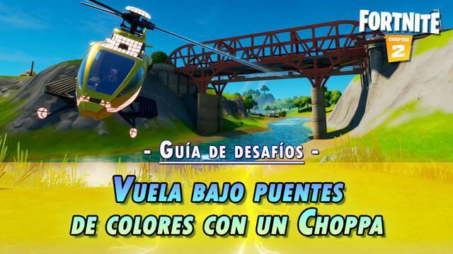 Desafío Fortnite: Vuela con un Choppa bajo puntes púrpua, rojo y azul - SOLUCIÓN