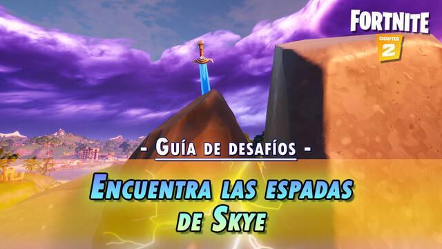Desafío Fortnite: Encuentra la espada de Skye en una piedra en lugares elevados - SOLUCIÓN