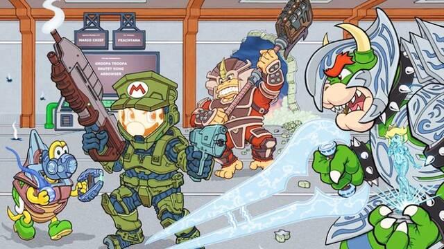 Halo y Super Mario juntos en un fan art