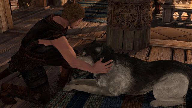 Un mod permite acariciar a los perros de Skyrim.