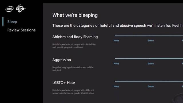 Intel Bleep insultos juegos online chat de voz