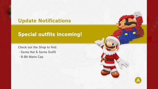 Mario 8 bits y Papá Noel son los nuevos trajes de Super Mario Odyssey