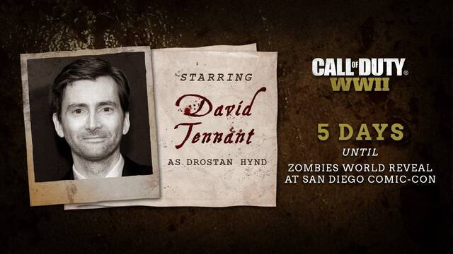 David Tennant será el protagonista del modo zombis de Call of Duty: WWII
