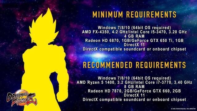 Anunciados los requisitos de Dragon Ball FighterZ en PC