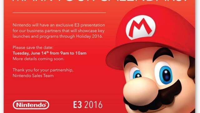 Nintendo realizará una presentación a sus socios de negocios en el E3