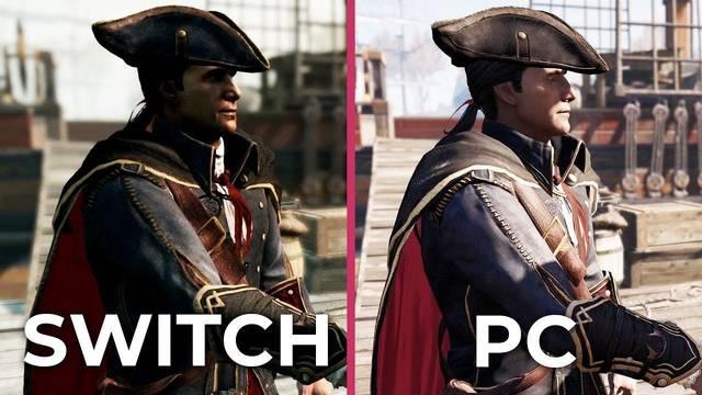 Assassin's Creed 3 Remastered compara su gráficos y rendimiento en PC y Switch