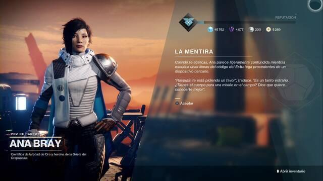 La mentira en Destiny 2: cómo completarla  y recompensas
