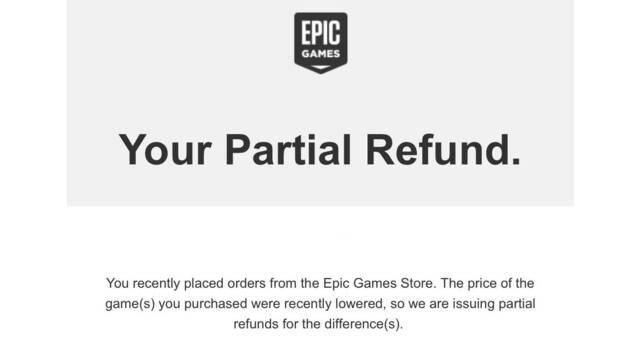 Epic Games Store y los reembolsos parciales