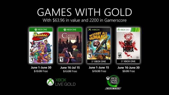 Anunciados  los juegos gratis de Xbox Live Gold en junio de 2020.