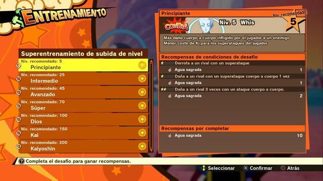 Superentrenamiento de subida de nivel en Dragon Ball Z Kakarot