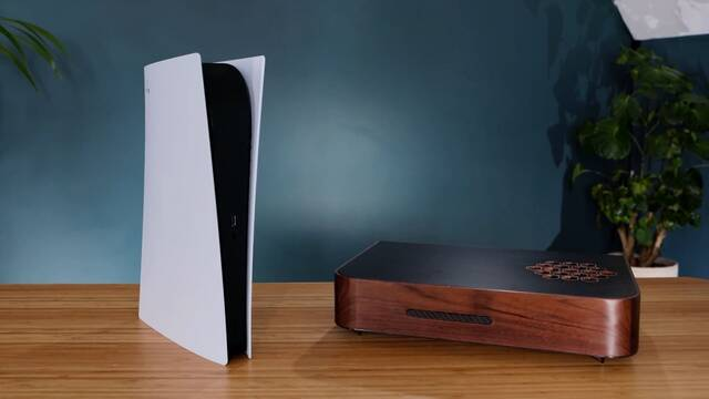 Usuario crea una PS5 personalizada con una cobertura de madera