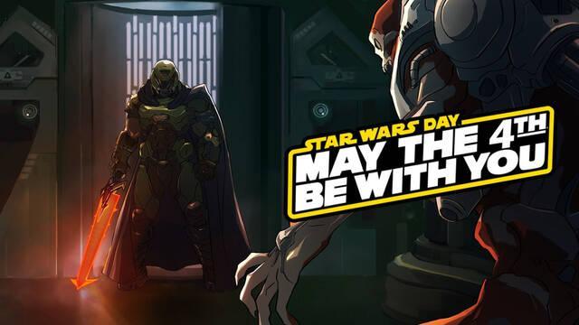 Bethesda celebra el Día de Star Wars con una ilustración de DOOM Eternal.