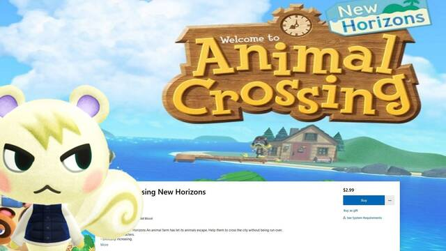 Animal Crossing falso en Microsoft Store