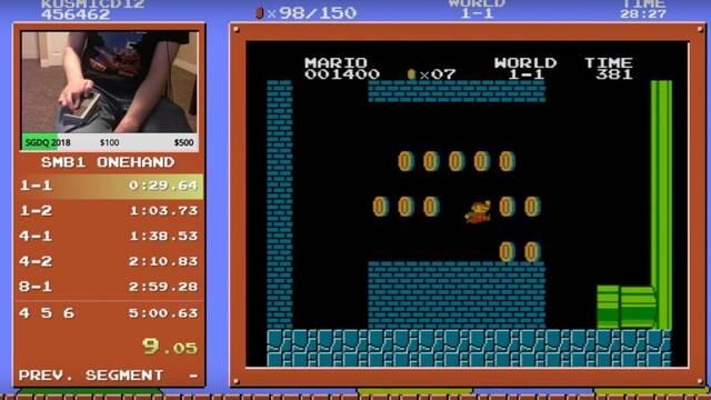 Supera Super Mario Bros. en menos de 5 minutos con una sola mano