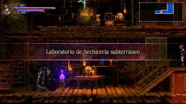 Laboratorio de hechicería subterráneo al 100% en Bloodstained: Ritual of the night
