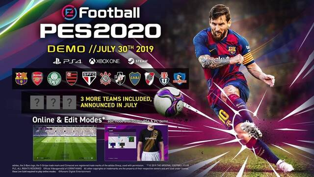 La demo de PES 2020 estará disponible el 30 de julio en PS4, One y PC