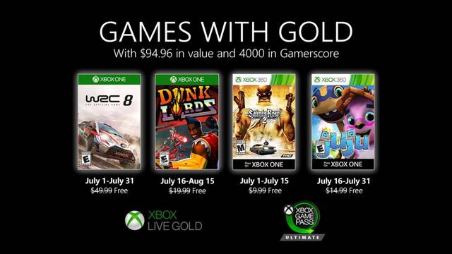 Games with Gold de julio para Xbox One y Xbox 360.