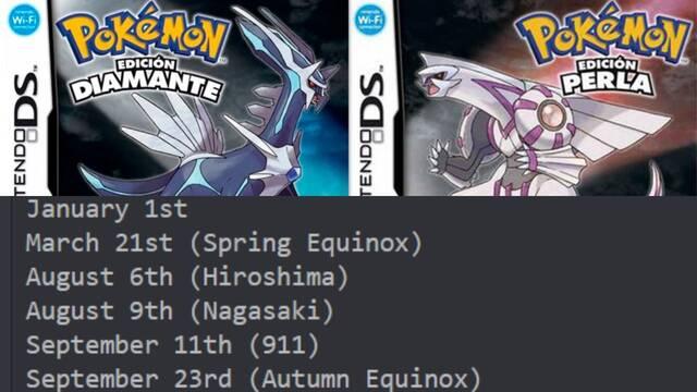 Pokémon Diamante y Perla varían sus tasas de aparición de Pokémons dependiendo del día del año.