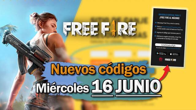 Free Fire: portada de códigos de recompensa miércoles 16 de junio 2021