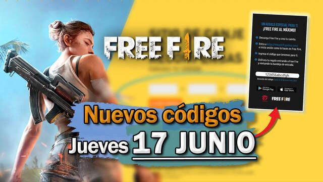 Free Fire: portada de códigos de recompensa jueves 17 de junio de 2021