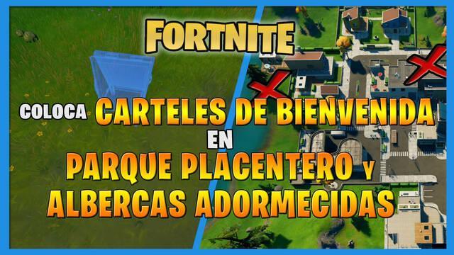 Fortnite: dónde colocar carteles en Parque Placentero y Albercas Adormecidas