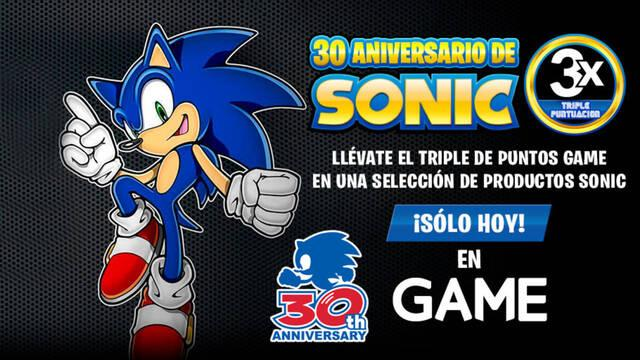 GAME celebra el 30 aniversario de Sonic con el triple de puntos por cada compra de sus juegos