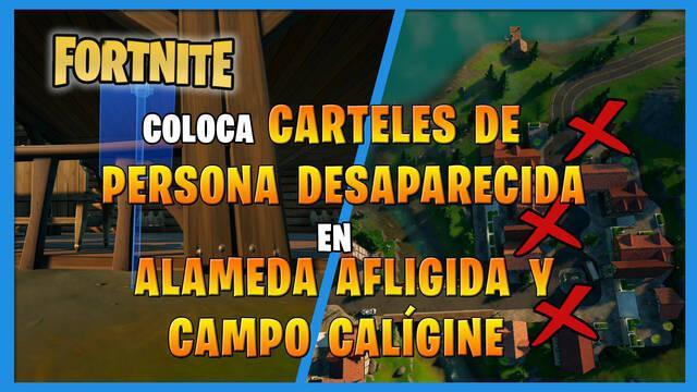 Fortnite: Coloca carteles de persona desaparecida en Alameda Afligida y Campo Calígine