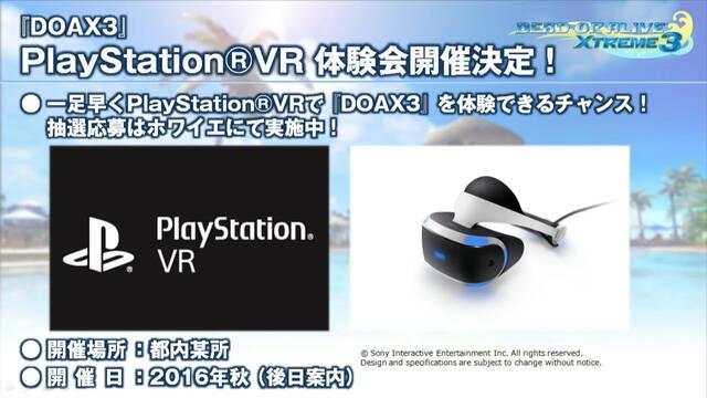 Dead or Alive Xtreme 3 será compatible con PlayStation VR
