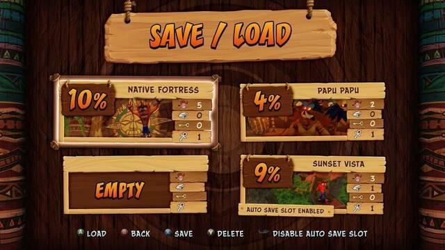 Aparecen pantallas de Crash Bandicoot N. Sane Trilogy con botones de Xbox