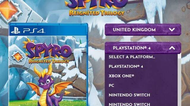 Listan Spyro: Reignited Trilogy para Switch y PC en la web oficial