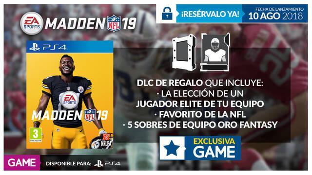 GAME detalla sus incentivos por reserva para Madden NFL 19 en PS4