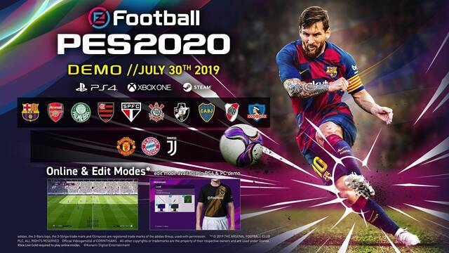 eFootball PES 2020 revela el listado completo de equipos de su demo