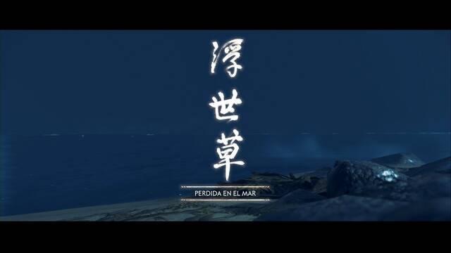 Perdida en el mar al 100% en Ghost of Tsushima