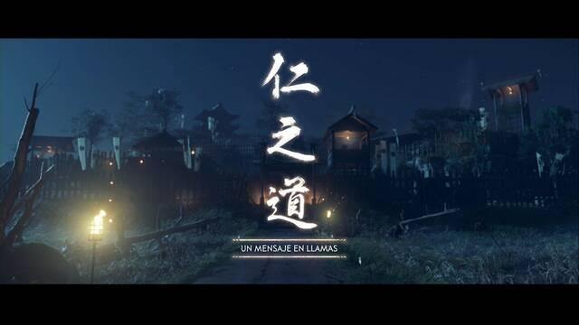 Un mensaje en llamas al 100% en Ghost of Tsushima
