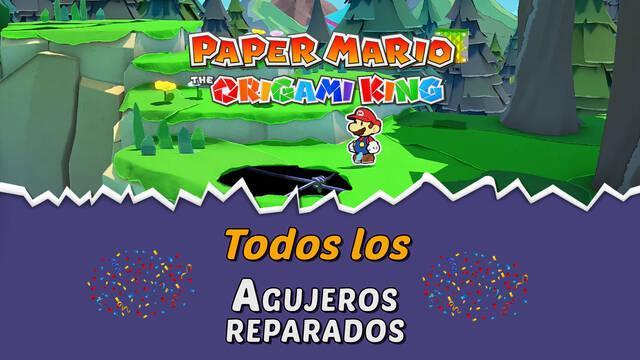 TODOS los Agujeros reparados de Paper Mario: The Origami King y dónde encontrarlos