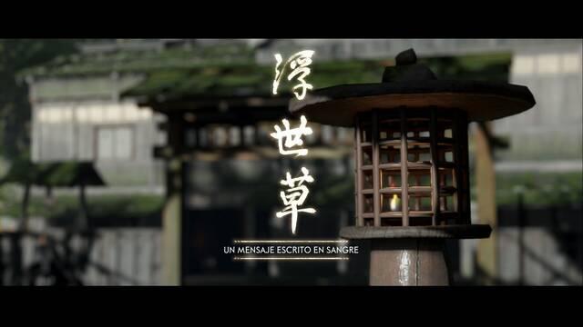 Un mensaje escrito en sangre al 100% en Ghost of Tsushima