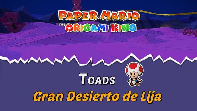 TODOS los Toads en Gran Desierto de Lija de Paper Mario The Origami King