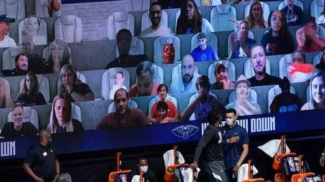 Así es el extraño público virtual que llena los estadios de la NBA.