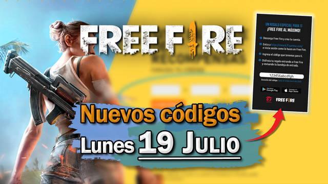 Free Fire: portada de códigos de recompensa 19 de julio 2021
