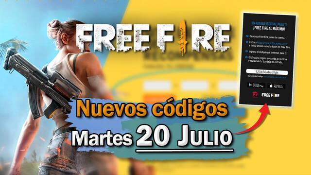 Free Fire: portada de códigos de recompensa 20 de julio 2021