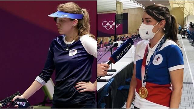 Atleta olímpica con el medallón de The Witcher