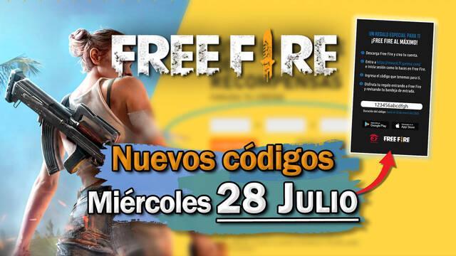 Free Fire: portada de códigos de recompensa 28 de julio 2021