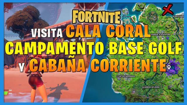 Fortnite: ¿dónde están Cala Coral, Campameno Base Golf y Cabaña Corriente?