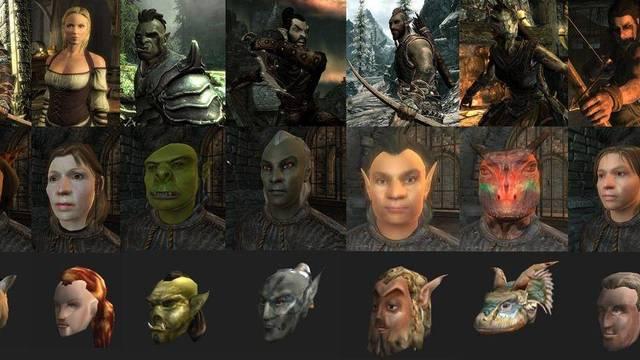 Una imagen compara los personajes de The Elder Scrolls V: Skyrim con entregas anteriores