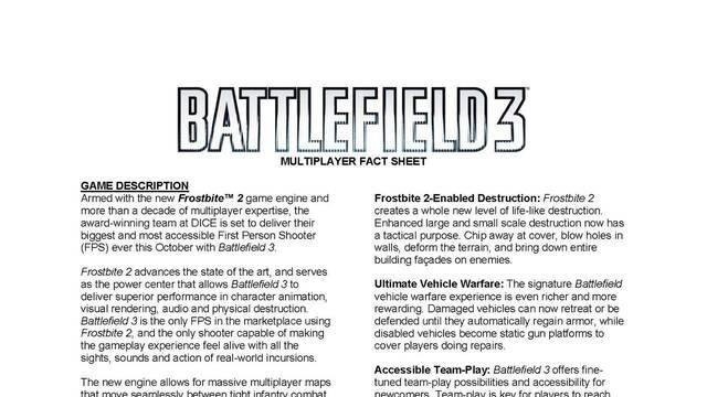 Desvelados todos los detalles del multijugador de Battlefield 3