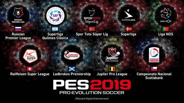 Licencias: Todas las ligas y equipos licenciados oficiales de PES 2019