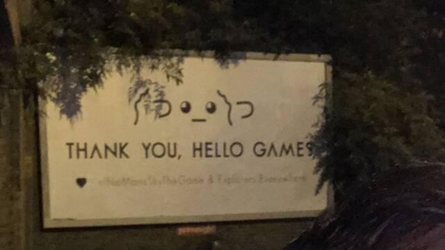 La valla publicitaria para apoyar a Hello Games ya está frente a la sede del estudio